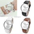 1pc Women's Round Case Numbers Dial PU Leather Band Who Cares Quartz Wrist Watch