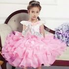 Toddler Girls 3D Rose Princess Dress Formal Wedding Party Communion Clothing 2-9