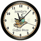 COFFEE SHOP WALL CLOCK PERSONALIZED GIFT WALL DECOR RESTAURANT HOUSE CAPPUCCINO