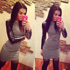 Women Spring Slim Faux Leather Long-sleeve Bodycon dresses casual Bandage dress