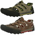 Mens Clarks Outlay Cove Olive Or Dark Brown Nubuck Sports Sandal Shoes