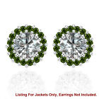 Halo Jackets for 3 Ct Total Weight 7MM Green Diamond Earrings 14K White Gold