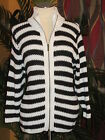 LANE BRYANT NWT $70 black and white zip up women's sweater cardigan striped