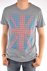 Ben Sherman Union Jack T-Shirt  L  Collar Mod Grey England Button Down Scooter