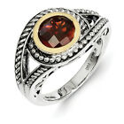 Garnet Ring .925 Sterling Silver & 14K Gold Accent Antique Sz 6 - 8 Shey Couture