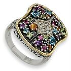 Multi Gemstone Diamond Ring Silver & Gold Accent 0.05 Ct Sz 6 - 8 Shey Couture