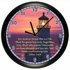 LIGHTHOUSE WALL CLOCK SCRIPTURE JOHN 3:16 VERSE PERSONALIZED GIFT CHOOSE VERSE