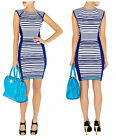 KAREN MILLEN STRIPE EVENING WORK OFFICE PARTY SMART BODYCON BANDAGE KNIT DRESS