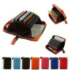 Men's Women's Leather ID/Credit Card Holder Purse Wallet Mini Organizer Case