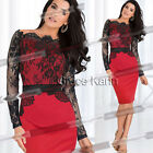 Fashion Womens Long Sleeve Lace Pencil Cocktail Evening Clubwear Party Dresses