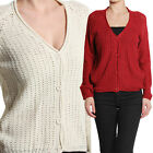 TheMogan V-neck Button Down Waffle Knit Sweater Cardigan
