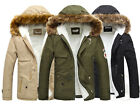 Thicken Mens Coat Jackets Fur Hooded Fitted Overcoat Parka Outerwear IN XS S M L