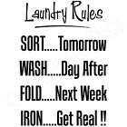 'LAUNDRY RULES' Bathroom Utility Kitchen Funny Quote Wall Art Sticker (BR17)