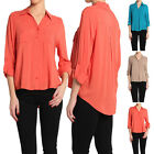 TheMogan Stand Collar Button Front Roll Up Blouse Top