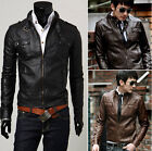 POP Chic Autumn Winter Men's Cosy Slim Fit Faux Leather Jackets Suit Coats CA LA
