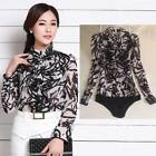 Flowy chiffon Frill Long Sleeve Top Fitted Blouse Bodysuit UK Standard Sizes S M
