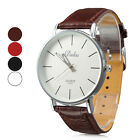2015 Gentle Unisex Simple White Dial PU Band Analog Quartz Wrist Watch Popular