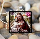 """THE LAST SUPPER"" EASTER JESUS CHRIST COMMUNION EUCHARIST GLASS PENDANT NECKLACE"