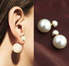 Fashion Hyperbole Double Sided Pearl Exquisite Elegant Ear Stud Earring