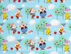 DISNEY SNOW WHITE : 7 DWARFS on blue   : 100% LICENSED cotton by the 1/2 metre