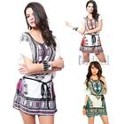 Womens Boho Floral Printed Beach Tunic Dress Batwing Sleeve Casual Loose Fit