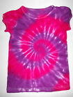 GIRLS PINK & PURPLE  TIE DYE DYED HIPPY TOP WITH CUTE SLEEVES SIZES 1 2 3 4 5 6