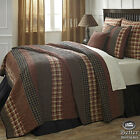 Black Brown Plaid Primitive Striped Rustic Country Quilt Bedding Set Collection