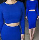Sexy Women Soft Knitted Long Sleeve Two Piece Sexy Midi Crop Top Skirt Set