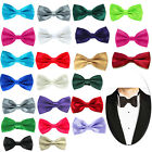 17 Colour Mens Satin Pre Tied Wedding Party Fancy Plain Necktie Tie Bow Ties UK