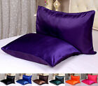 1 pc Silk Pillowcase Silk Pillow Cover Standard Queen King 12 colors