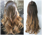 High Quality Clip in Dip dye Ombre Hair Extensions 3/4 Full Head Brown Blonde