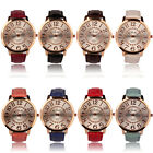Womens Fashion Numerals Golden Dial Leather Analog Quartz Watch Gayly