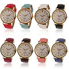 Womens Ladies Geneva Roman Golden Dial Leather Analog Quartz Watch New Gayly