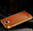 New Luxury Leather Back Metal Bumper Phone Case Cover For Samsung Galaxy Note 4