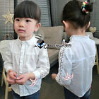 Spring Baby Girl Child Kids Princess Hollow Lace Neck Pearl Shirt Blouses 2-8Y