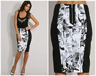KAREN MILLEN BLACK & WHITE GRAPHIC PRINT BODYCON SHORT PENCIL WORK SKIRT SK013