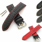 Mens Leather Watch Strap - Perforated Rally/Racing  Style - with Spring Bars
