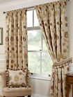 Quality Portofino Natural Floral Woven Tapestry Tape Top Pair Of Curtain Drapes