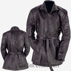 Women Black Leather Wrap Jacket Full Lining Zippered Front Coat Leather Belt Tie