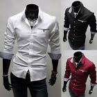 Business Collection~Mens Slim Fit Dress Shirts Button Down Long Sleeve Solid Top