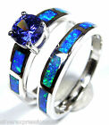 Tanzanite & Blue Fire Opal Inlay 925 Sterling Silver Solitaire & Band Ring Set