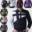 Discount Mens Fashion Slim Military Shirts Fashion Casual Long Sleeve Shirts