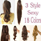 Pop Clip In Ponytail Pony Tail Hair Extensions Wrap Hairpiece Synthetic thick 3U