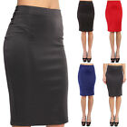 TheMogan Simple High Waisted Stretch Knit Pull On Midi Pencil Skirt