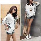Womens Batwing Loose Optional Wearing Tops Casual Dolman V-neck Blouse T-Shirt