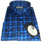 Blue Geometric polka dot Shirt Long Sleeve Quality Cotton Mr Free - size S-3XL
