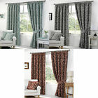 Woven Chenille Jacquard Lynwood Tape Top Contemporary Floral Leaf Pair Curtains