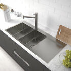304 stainless steel double bowls drainer 1.2mm thickness kitchen sinks top mount