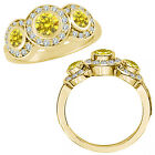 1 Carat Yellow Diamond Fancy Halo 3 Stone Engagement Women Ring 14K Yellow Gold