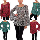 New Women's CEZANNE Boho Hippie Bell Sleeve Crochet Lace Top S,M,L ,XL